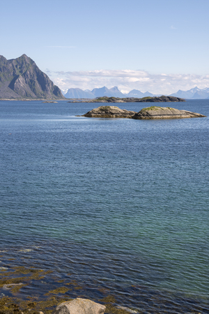 Panoramic view of the coast and the islands at Svolvaer in the Lofoten in Norway Stock Photo