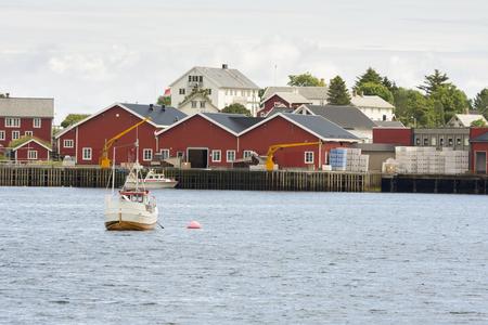 Panorama on the coast of Reine at Lofoten island in Norway Stock Photo