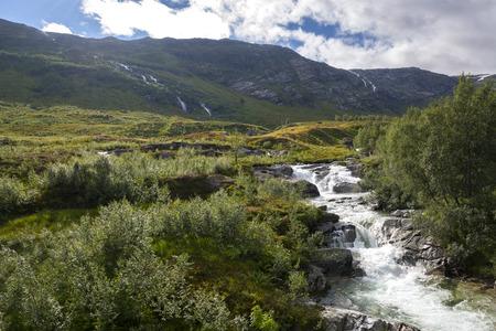 waterfall in the surroundings of Haugesund in Norway Stock Photo