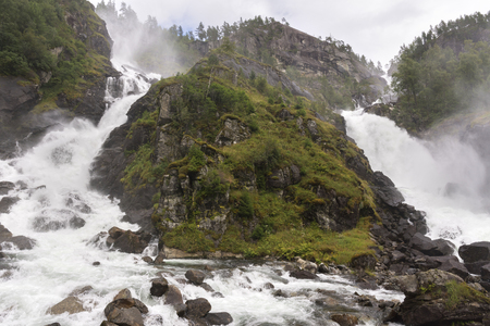 Latefossen waterfall in the surroundings of Haugesund in Norway