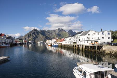 henningsvaer villge on the coast at Lofoten in Norway Stock Photo