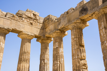 Ancient temples of Selinunte in Agrigento in Sicily in Italy Stock Photo