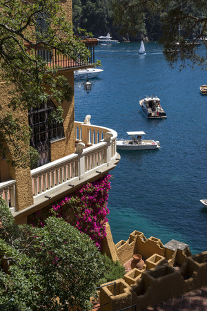 Portofino in Genoa, Italy. Landscapes, houses and villas on the sea 에디토리얼