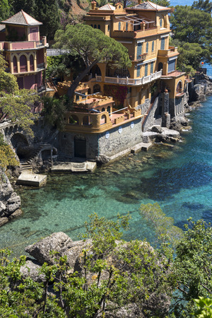 Portofino in Genoa, Italy. Landscapes, houses and villas on the sea Standard-Bild