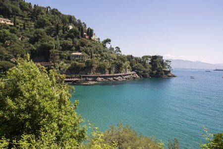 landscapes on the sea along the coast of Portofino in Genoa in Italy