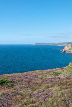 view of the landscape at Lands End in Cornwall in the summer Archivio Fotografico