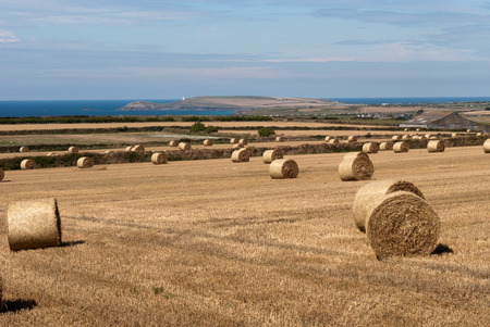 hills with cultivated fields and hay bales in Newquay in Cornwall Stock Photo