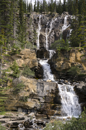 Tangle Creek waterfall in Alberta Canada Stock Photo