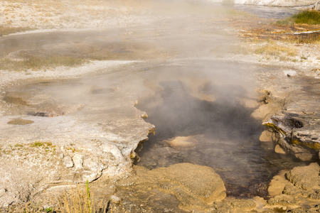 Geysers in the Black Sand Basin in Yellowstone National Park in Wyoming