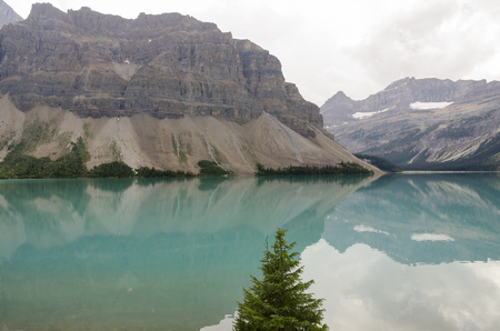 Bow Lake in cloudy day in summer in Banff National Park, Alberta, Canada