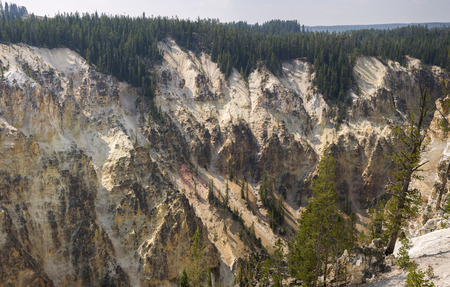 yellowstone river and falls canyon in Yellowstone National Park in Wyoming