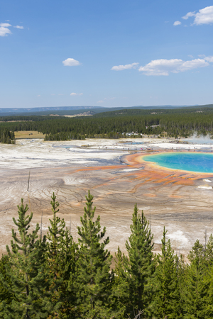 Geyser in grand prismatic spring Basin in Yellowstone National Park in Wyoming