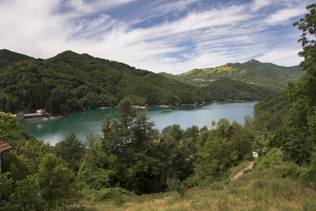 landscape on the artificial lake of Brugneto in the mountains of Genoa in Liguria