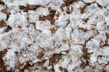 icy nature in winter in Italy Standard-Bild