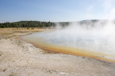 norris geyser basin porcelain in Yellowstone National Park in Wyoming