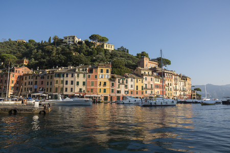 landscapes, houses and villas seen during a boat trip on the coast of Portofino in Genoa in Italy Editorial