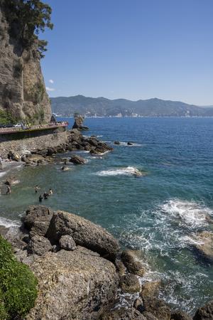 landscapes on the sea along the coast of Portofino in Genoa in Italy