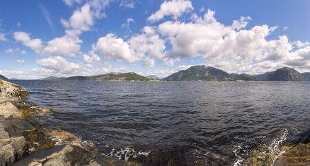 landscape between sea and mountain in Stavanger in Lofoten in Norway