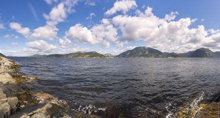 landscape between sea and mountain in Stavanger in Lofoten in Norway 스톡 콘텐츠 - 141042311
