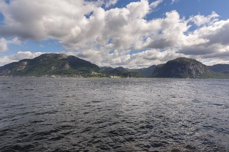 landscape between sea and mountain in Stavanger in Lofoten in Norway
