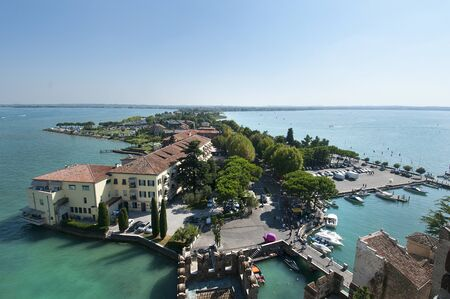 sirmione: Sirmione on Garda Lake Garda Italy landscape Editorial