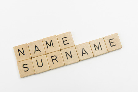surname: name and surname words