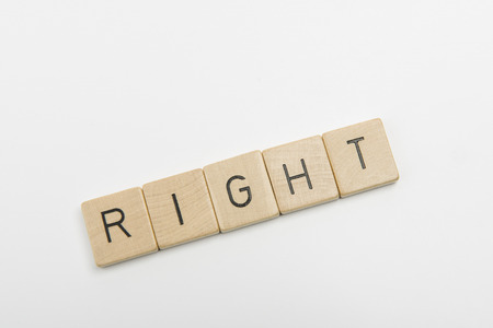 right on: right word Stock Photo