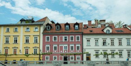 ljubljana: houses along the river in Ljubljana, Slovenia