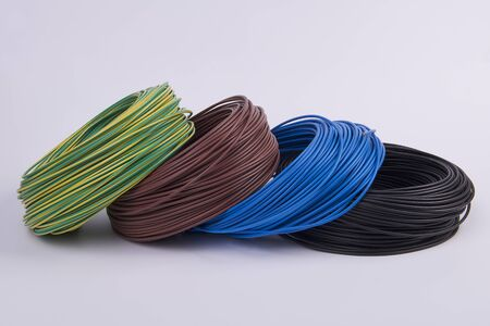 electric current: skeins of electrical wires