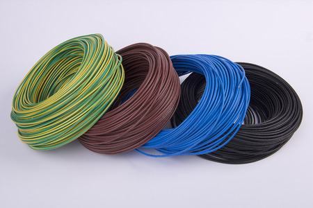 electric current: skeins of electrical wires of various colors