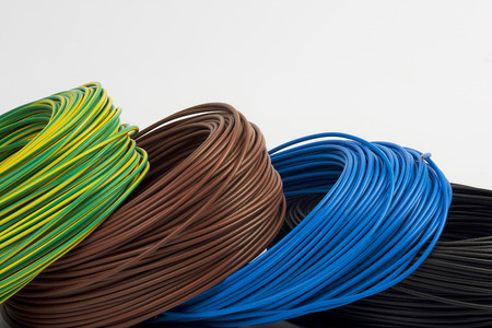 electric current: skeins of electrical cable Stock Photo