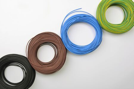 conductor electricity: skeins of electrical cable Stock Photo