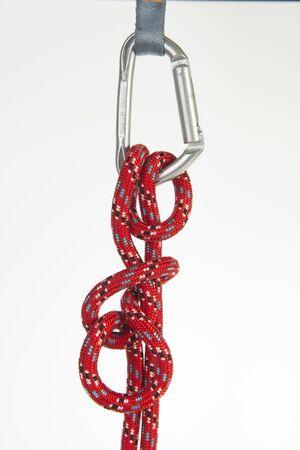 carabiner: rope and carabiner Stock Photo