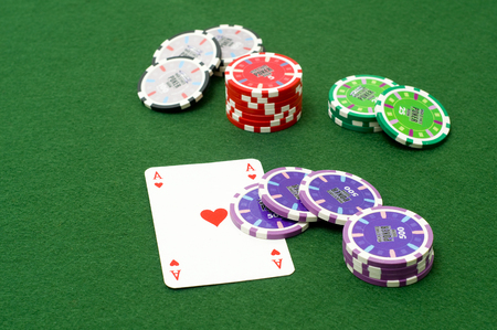 ace of hearts: Ace of hearts and chips Stock Photo