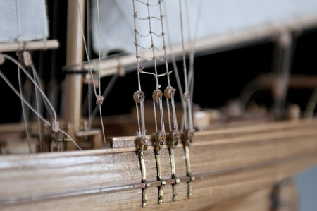 in particular: particular of a model sailing ship