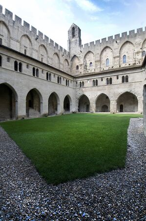 courtyard: courtyard of the Palace of the Popes in Avignon, France Editorial