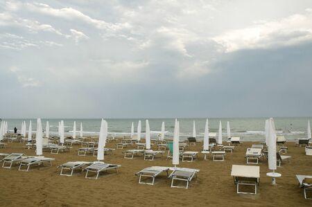 beach rain: beach during the rain Stock Photo