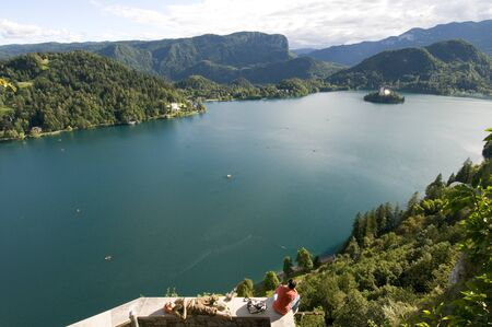 bled: panorama of Lake Bled, Slovenia Stock Photo