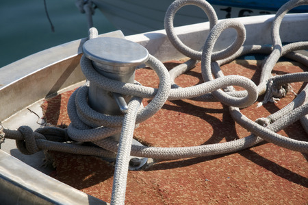 mooring: mooring of a boat Stock Photo