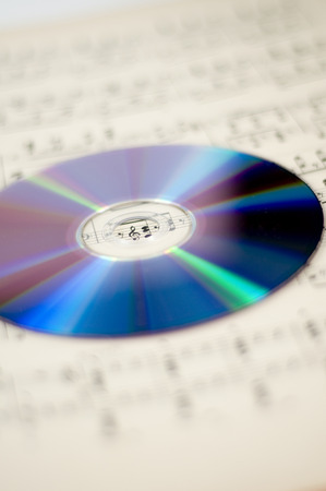 sheet music and CD 스톡 콘텐츠