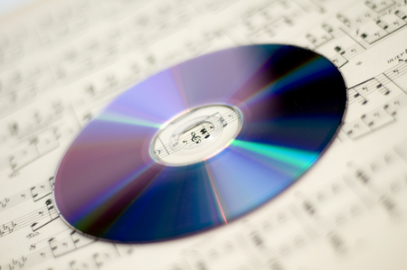 sheet music: sheet music and CD Stock Photo