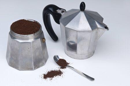 coffee and moka pot 스톡 콘텐츠