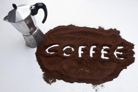 coffee on the table and moka pot
