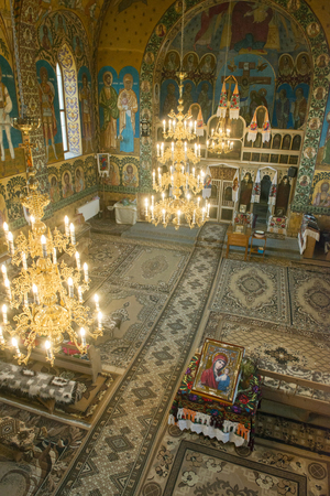 towering: Interior of a catholic church in Ocesti, Region of Maramures, Romania