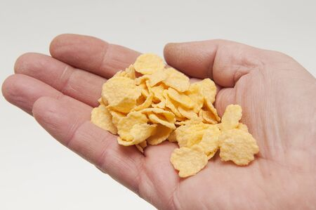 cereal bowl: cornflakes in hand