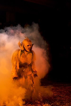 dreadful: representation of the masks of the Krampus in December nights in the Alpine countries Stock Photo