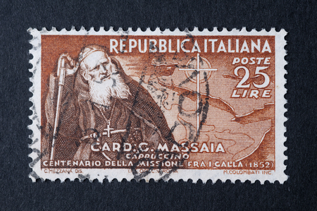 grungy email: Italian stamp used