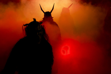 representation of the masks of the Krampus in December nights in the Alpine countries 스톡 콘텐츠