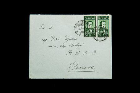 old envelope: old envelope franked with a stamp Italian