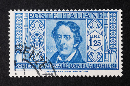 post stamp: Old postage stamp stamped the Kingdom of Italy